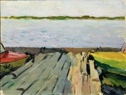Лодки у берега реки Днепр. пейзаж г. Канев