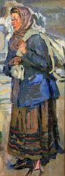 Женщина в платке с мешком этюд